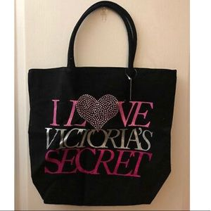 "🍁2/$60 VS ""I LOVE VICTORIA'S SECRET"" Black Tote"